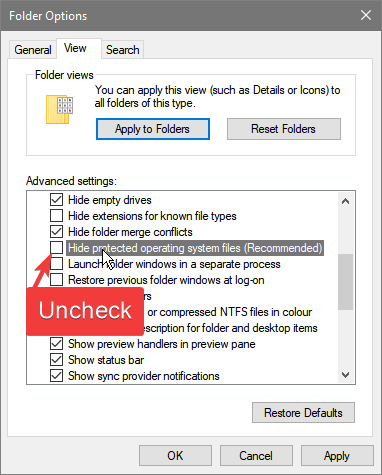 Fix 0x80244018 error - unhide protected system files