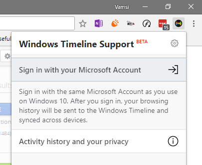Win10 timeline - chrome sign in