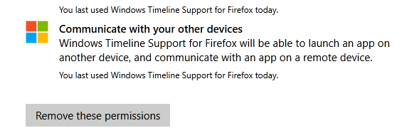 Win10 timeline - remove permissions firefox