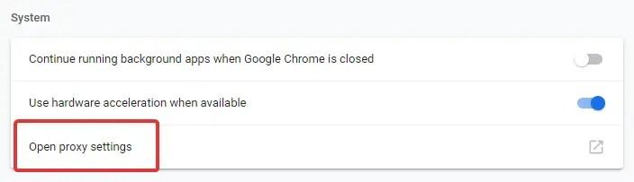 Downloading proxy script click on open proxy settings