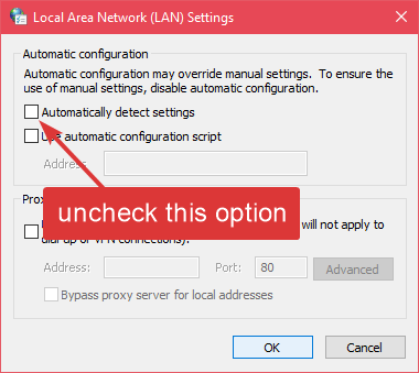Downloading proxy script uncheck automatically detect settings