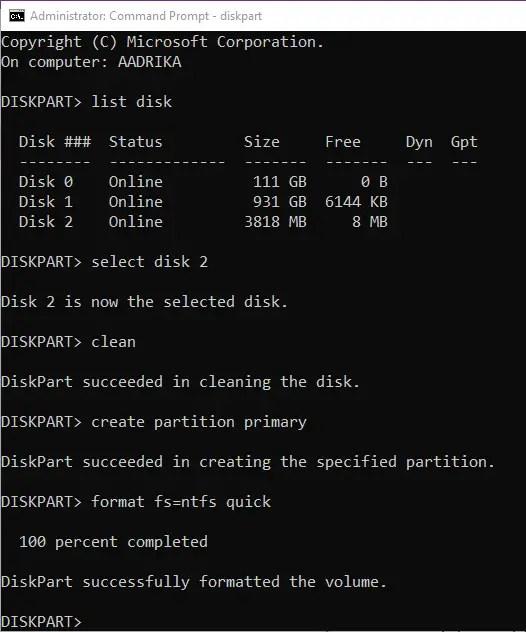 Format usb drive cmd format command