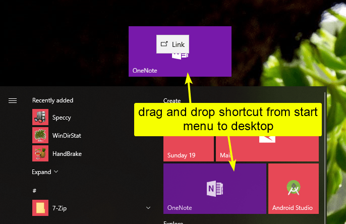 Store app shortcut from strat menu