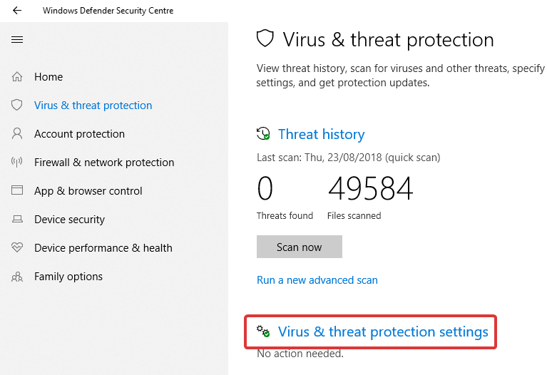 Windows defender click protection settings 2
