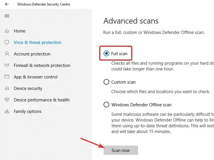 Windows defender select full scan