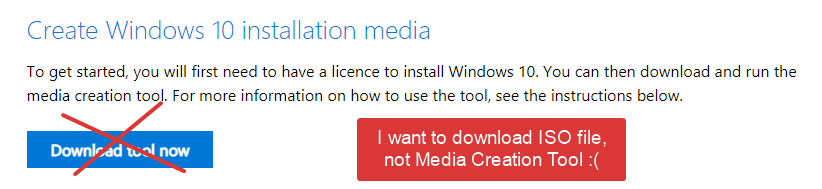 Don't want to download media creation tool