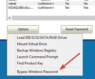 Pcunlocker select bypass windows password