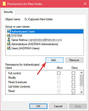 Restricted folder click add