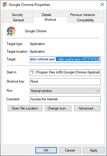 How to limit Google Chrome Cache Size in Windows