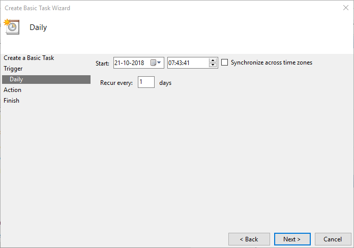 Task scheduler select date and time