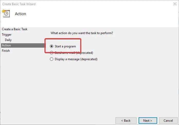 Task scheduler select start a program