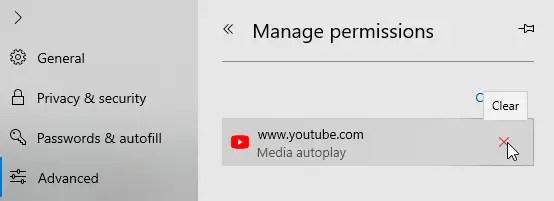 Video autoplay edge win10 click x icon