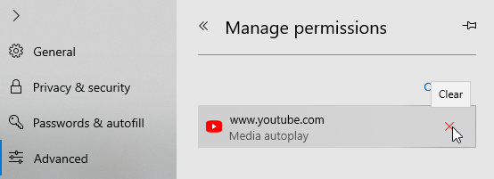 Video autoplay edge win10 click x icon