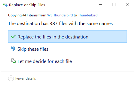 Backup thunderbird emails profile - select replace-min