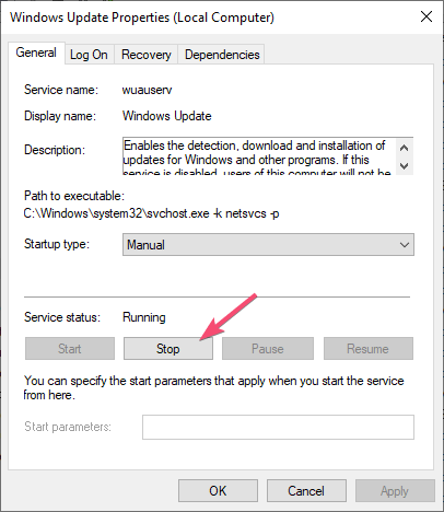 Stop automatic updates stop windows update service