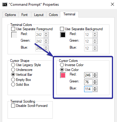 Change cmd or powershell cursor color