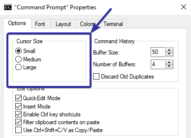 Change cmd or powershell cursor size
