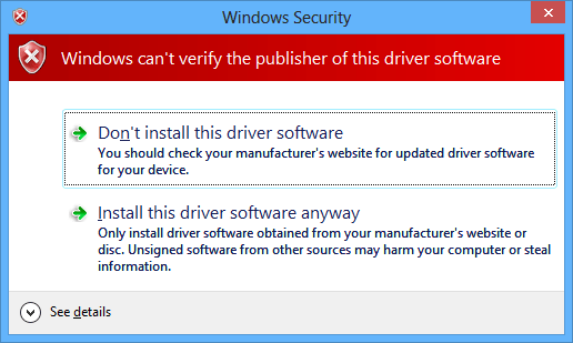 Unsigned driver warning windows