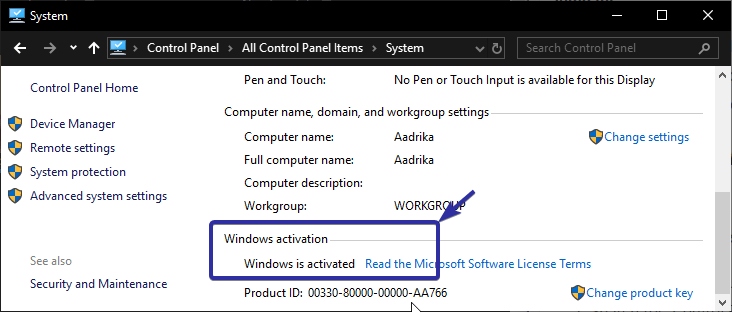 Check if windows is activated 1