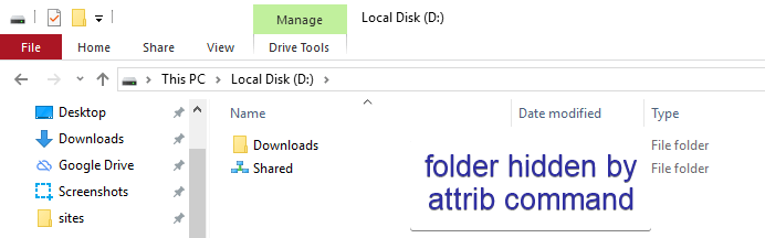 Attrib command to hide folder 03