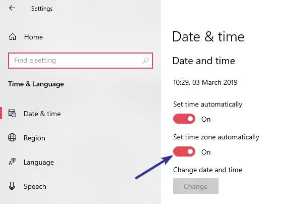 Change timezone windows 10 02