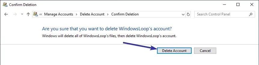 Delete user account windows 10 10