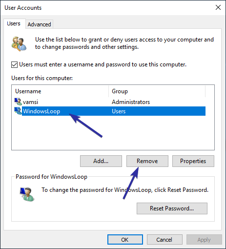Delete user account windows 10 12