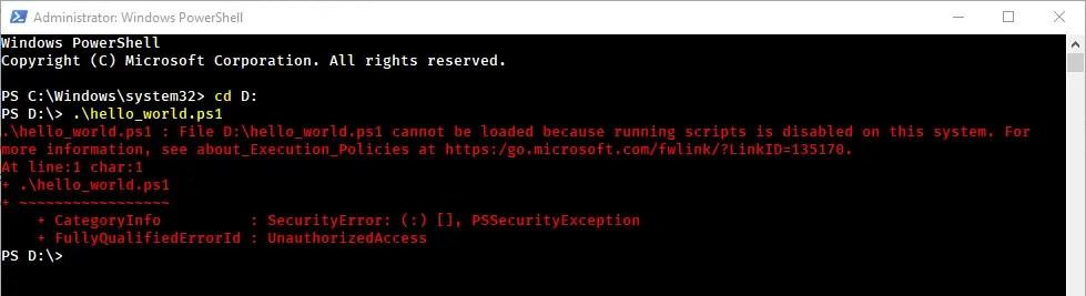 Powershell execution error