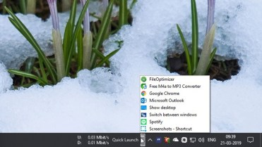 Quick launch toolbar