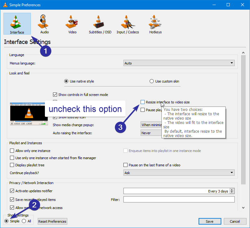 Stop vlc from automatically resizing 03