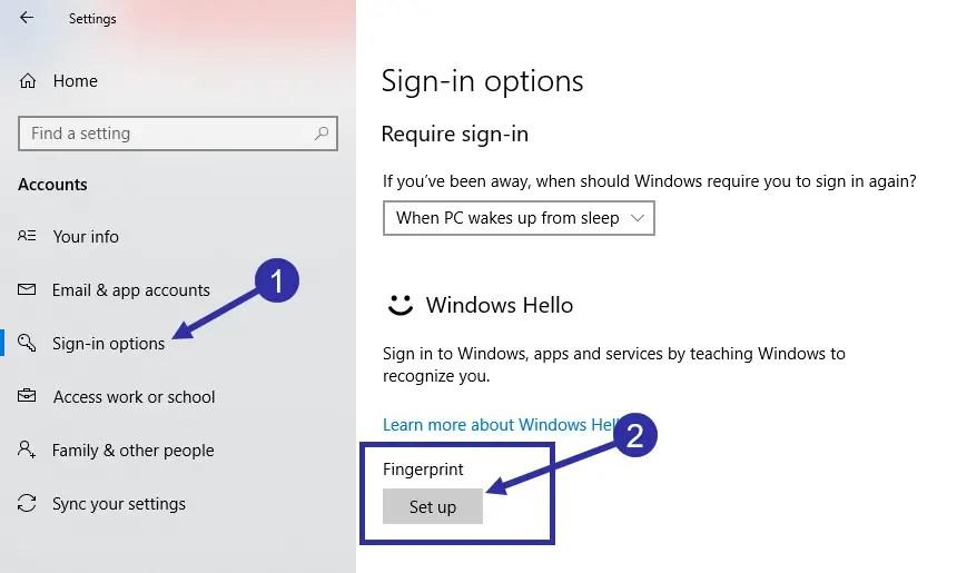 01 add fingerprint in windows 10