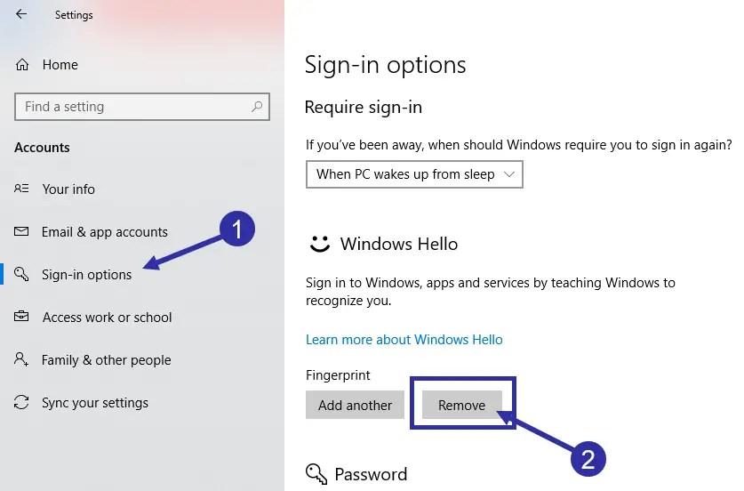 09 remove fingerprint in windows 10