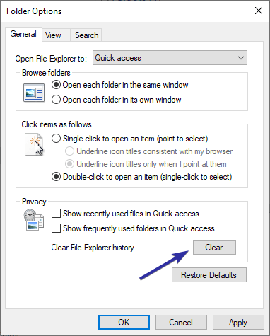 Clear file explorer address bar history 05
