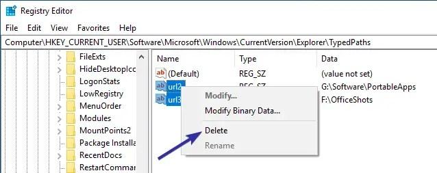 Delete file explorer address bar history 09
