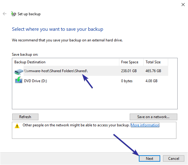 Windows 10 backup to network drive 07