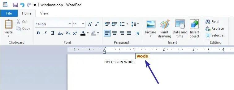 Wordpad spell check 04