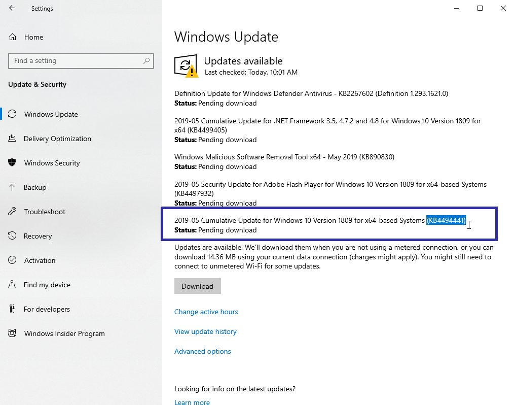 Direct Download Links for KB4494441 IMP  Security Update