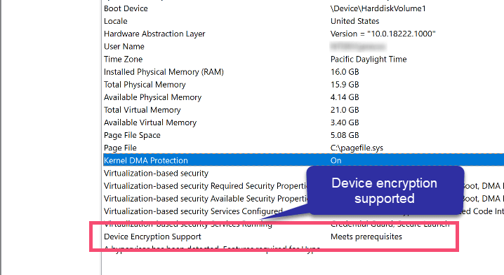 Device encryption supported
