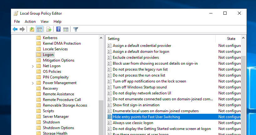 Disable fast user switching step 03