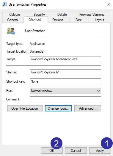 Switch user desktop shortcut step 08