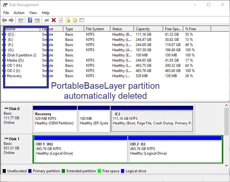 Delete portablebaselayer partition