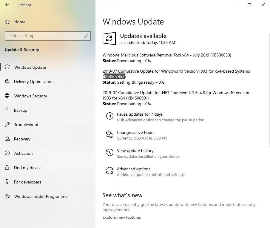 Kb4507453 update installing
