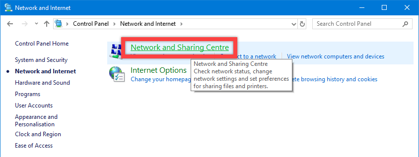 Windows 10 network discovery - click networking and sharing center link