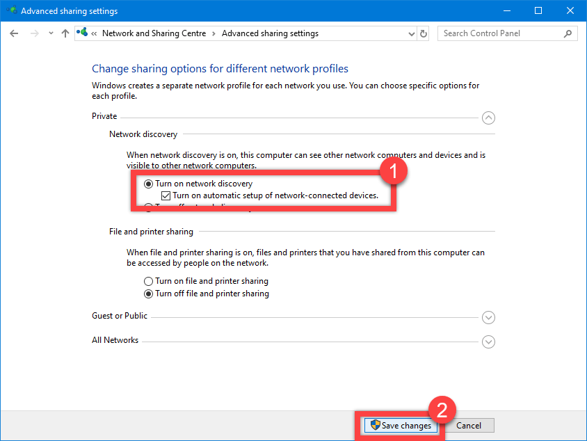 Windows 10 network discovery - turn on network discovery for private network