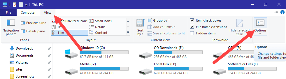 Clear recent files in win10 - click options button