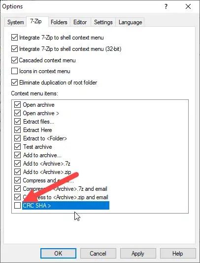Remove crc sha from context menu - uncheck