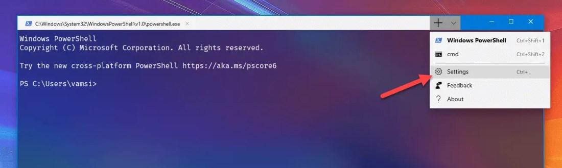 Ubuntu in windows terminal - open windows terminal settings