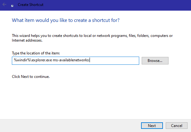 Win10 available networks shortcut - enter path