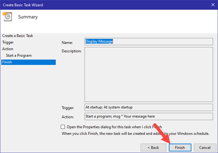 Win10 display message task scheduler - finish task creation