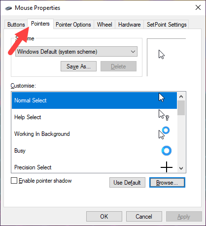 Win10 left hand mouse pointer - go to pointers tab